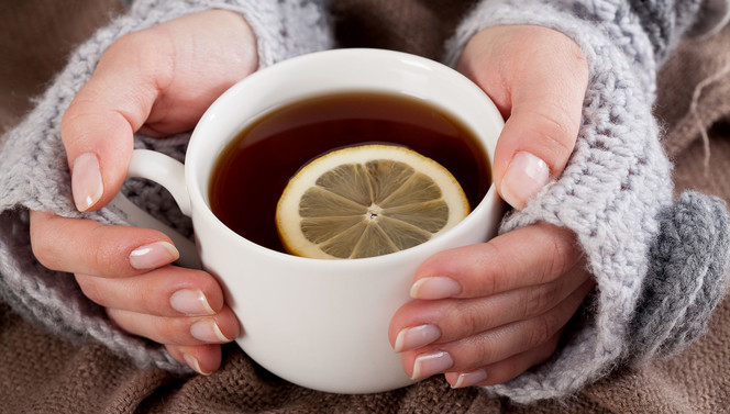 Hot cup of tea with citron during the autumn